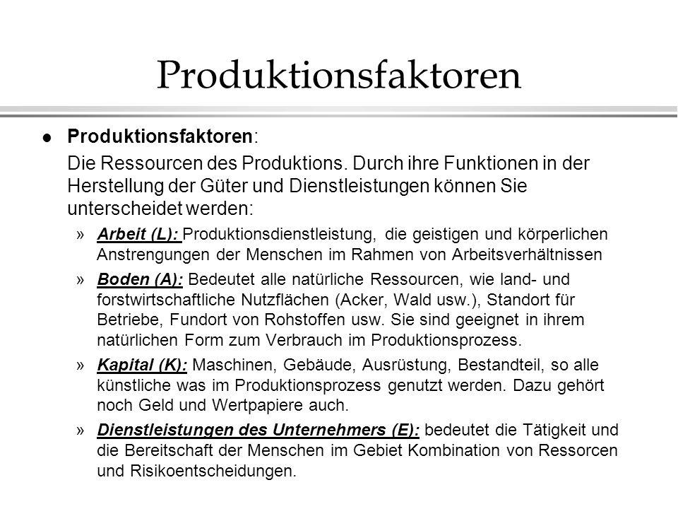 Produktionsfaktoren l Produktionsfaktoren: Die Ressourcen des Produktions. Durch ihre Funktionen in der Herstellung der Güter und Dienstleistungen kön