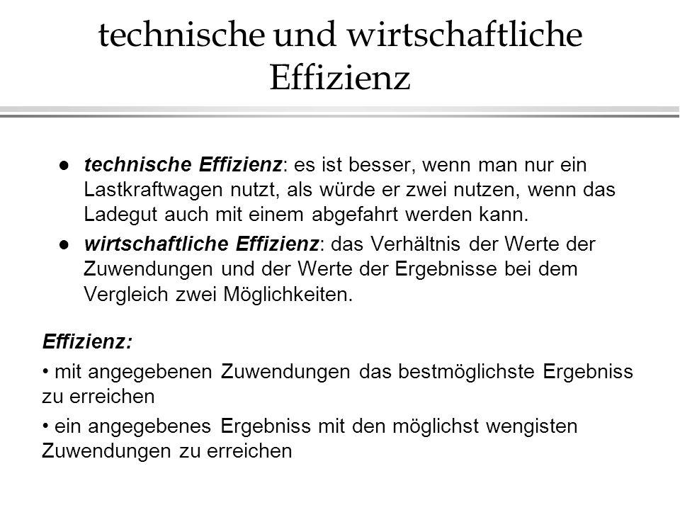 technische und wirtschaftliche Effizienz l technische Effizienz: es ist besser, wenn man nur ein Lastkraftwagen nutzt, als würde er zwei nutzen, wenn