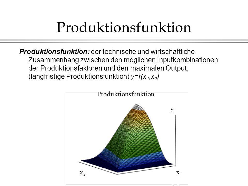 partielle Produktionfunktion partielle Produktionsfunktion: es zeigt den Verlauf der Produktion wegen der Veränderung eines Produktionsfaktores, wenn wir annehmen, daß alle andere Faktoren unverändert sind.