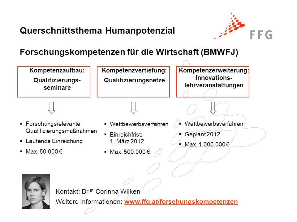 Querschnittsthema Humanpotenzial Forschungskompetenzen für die Wirtschaft (BMWFJ) Kompetenzaufbau: Qualifizierungs- seminare Kompetenzvertiefung: Qual