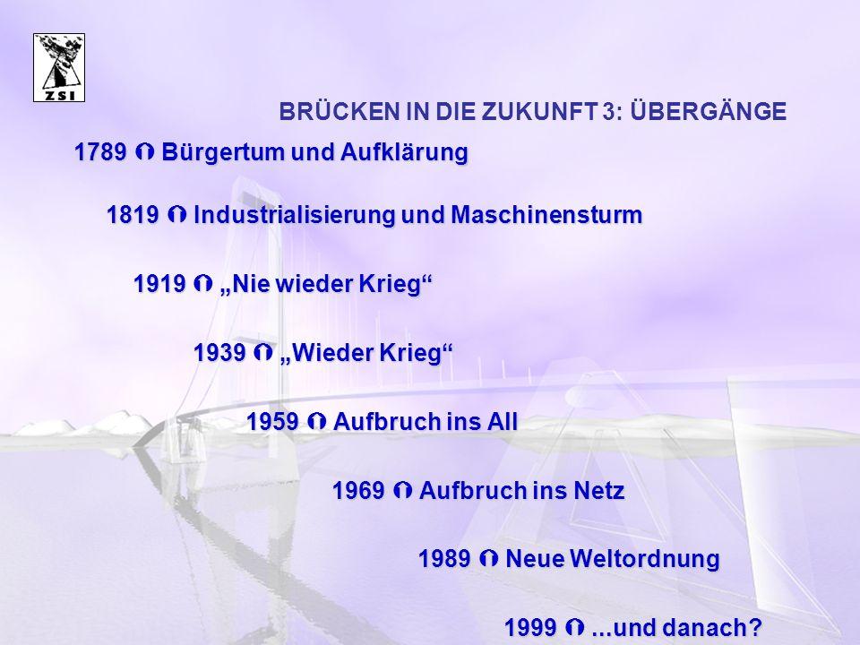 BRÜCKEN IN DIE ZUKUNFT 3: ÜBERGÄNGE 1789 Bürgertum und Aufklärung 1819 Industrialisierung und Maschinensturm 1919 Nie wieder Krieg 1919 Nie wieder Kri