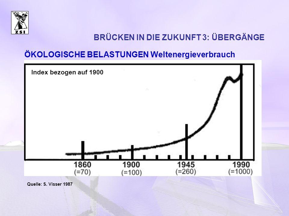 BRÜCKEN IN DIE ZUKUNFT 3: ÜBERGÄNGE Quelle: S. Visser 1987 Index bezogen auf 1900 ÖKOLOGISCHE BELASTUNGEN Weltenergieverbrauch