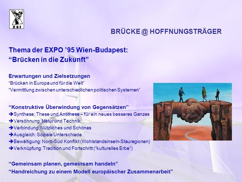 BRÜCKE @ HOFFNUNGSTRÄGER Thema der EXPO 95 Wien-Budapest: Brücken in die Zukunft Erwartungen und Zielsetzungen Brücken in Europa und für die Welt Verm