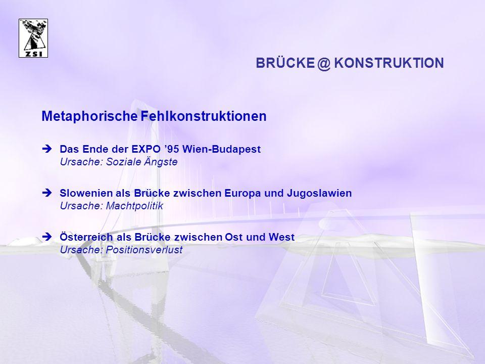 Metaphorische Fehlkonstruktionen Das Ende der EXPO 95 Wien-Budapest Ursache: Soziale Ängste Slowenien als Brücke zwischen Europa und Jugoslawien Ursac