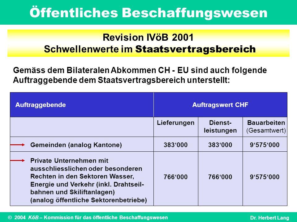 Öffentliches Beschaffungswesen © 2004 KöB – Kommission für das öffentliche BeschaffungswesenDr. Herbert Lang Gemäss dem Bilateralen Abkommen CH - EU s