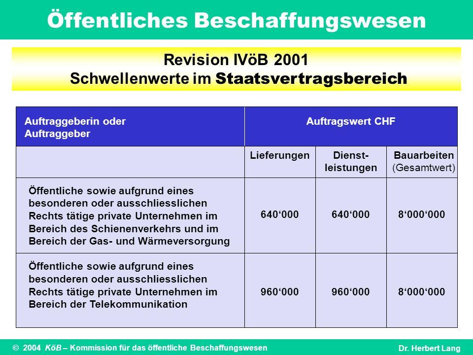 Öffentliches Beschaffungswesen © 2004 KöB – Kommission für das öffentliche BeschaffungswesenDr. Herbert Lang Revision IVöB 2001 Schwellenwerte im Staa