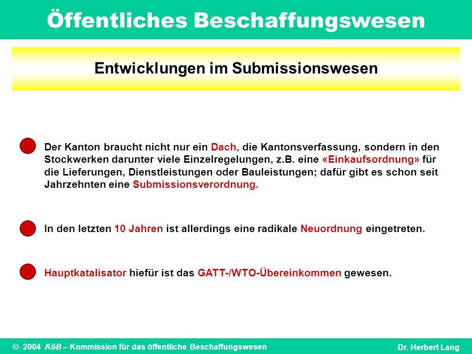 Öffentliches Beschaffungswesen © 2004 KöB – Kommission für das öffentliche BeschaffungswesenDr. Herbert Lang Entwicklungen im Submissionswesen Der Kan