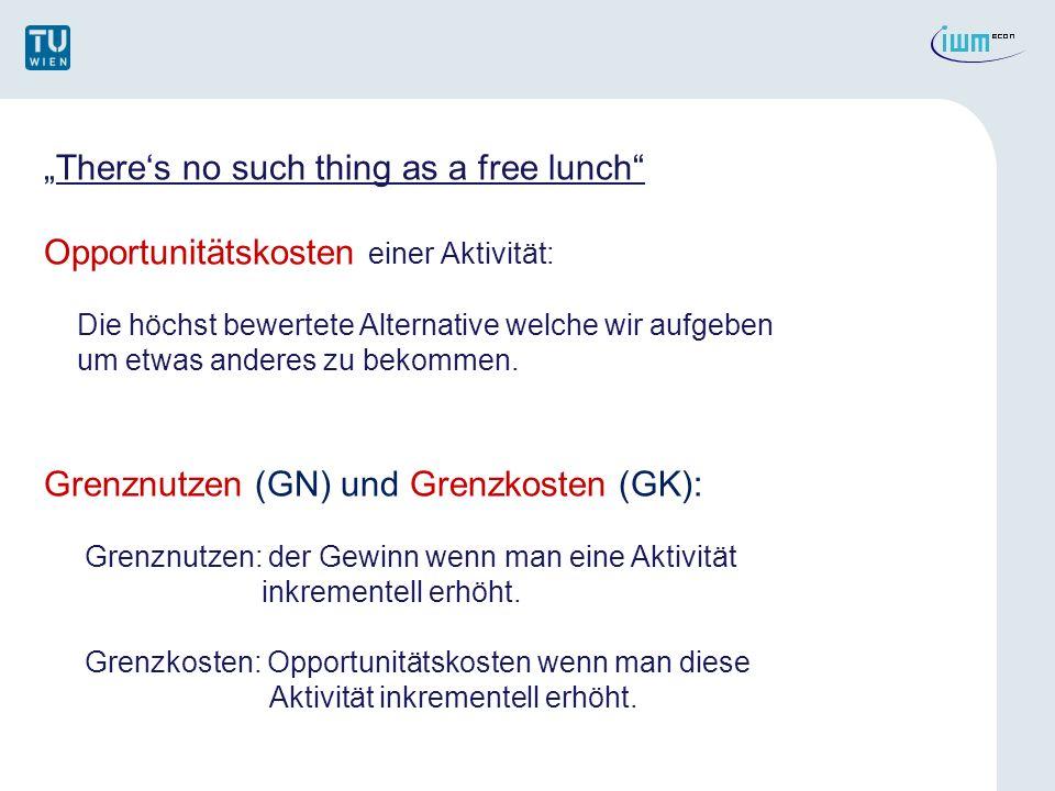Theres no such thing as a free lunch Opportunitätskosten einer Aktivität: Die höchst bewertete Alternative welche wir aufgeben um etwas anderes zu bekommen.