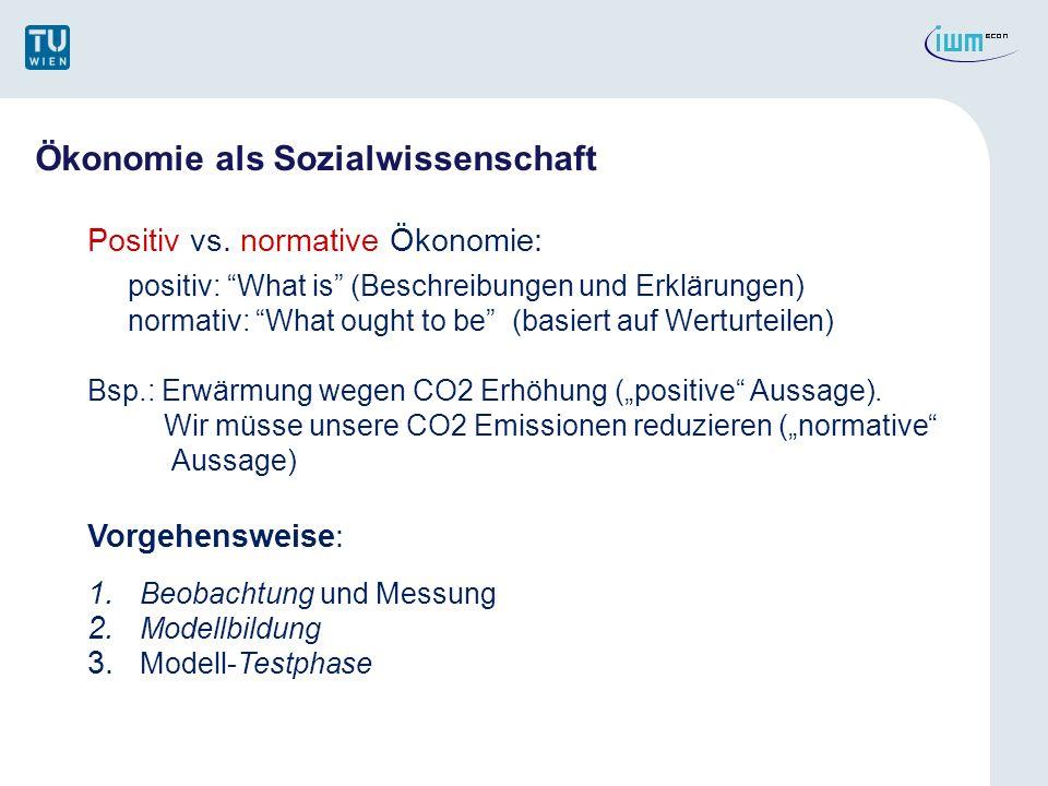 Ökonomie als Sozialwissenschaft Positiv vs. normative Ökonomie: positiv: What is (Beschreibungen und Erklärungen) normativ: What ought to be (basiert