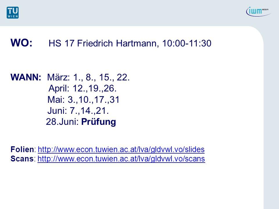 WO: HS 17 Friedrich Hartmann, 10:00-11:30 WANN: März: 1., 8., 15., 22. April: 12.,19.,26. Mai: 3.,10.,17.,31 Juni: 7.,14.,21. 28.Juni: Prüfung Folien: