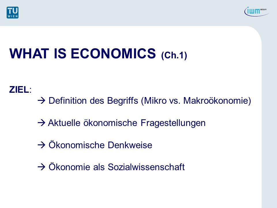 WHAT IS ECONOMICS (Ch.1) ZIEL: Definition des Begriffs (Mikro vs. Makroökonomie) Aktuelle ökonomische Fragestellungen Ökonomische Denkweise Ökonomie a