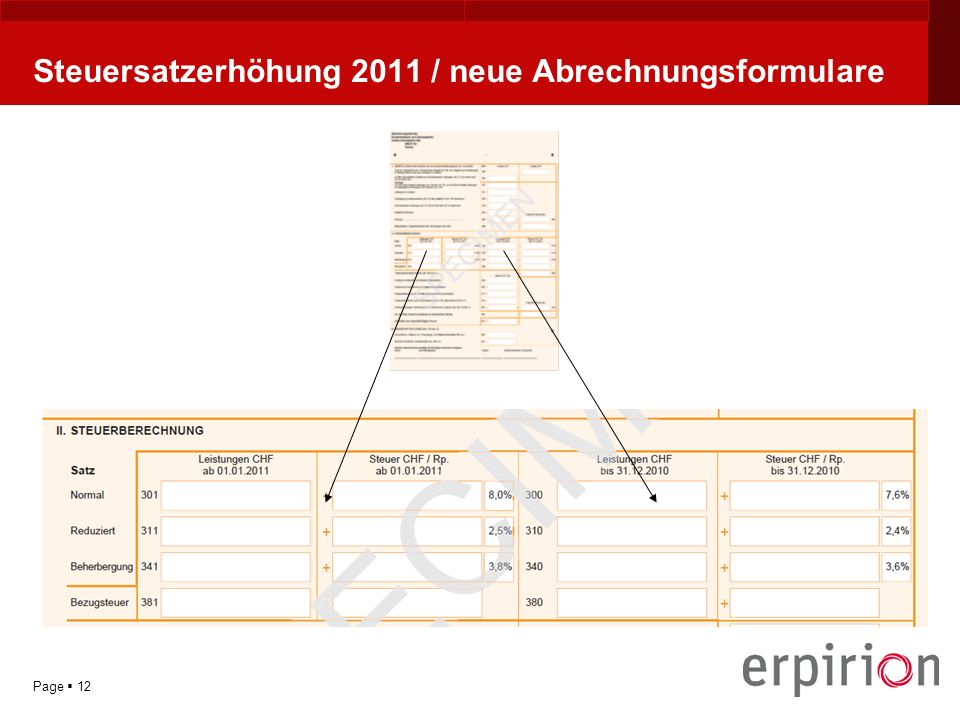 YOUR LOGO Page 12 Steuersatzerhöhung 2011 / neue Abrechnungsformulare