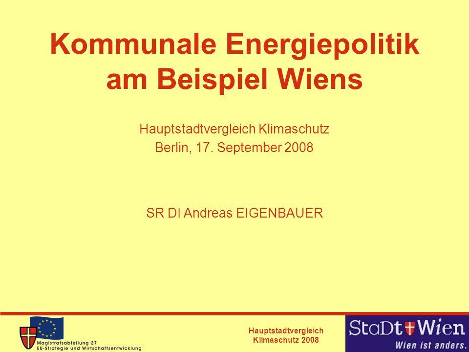 Hauptstadtvergleich Klimaschutz 2008 Übersicht Wiener Energiepolitik Aktuelle Beispiele -Energieeffizienzprogramm -Leitungsausbaugesetz für Fernwärme und Kälte -Ökostromgesetz Auswahl an Innovationen bei erneuerbaren Energien