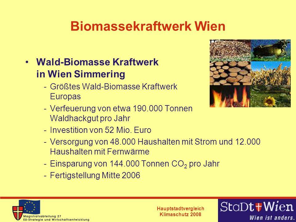 Hauptstadtvergleich Klimaschutz 2008 Biomassekraftwerk Wien Wald-Biomasse Kraftwerk in Wien Simmering -Größtes Wald-Biomasse Kraftwerk Europas -Verfeu