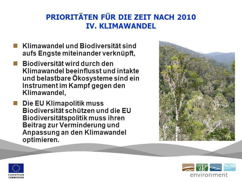 PRIORITÄTEN FÜR DIE ZEIT NACH 2010 IV. KLIMAWANDEL Klimawandel und Biodiversität sind aufs Engste miteinander verknüpft, Biodiversität wird durch den