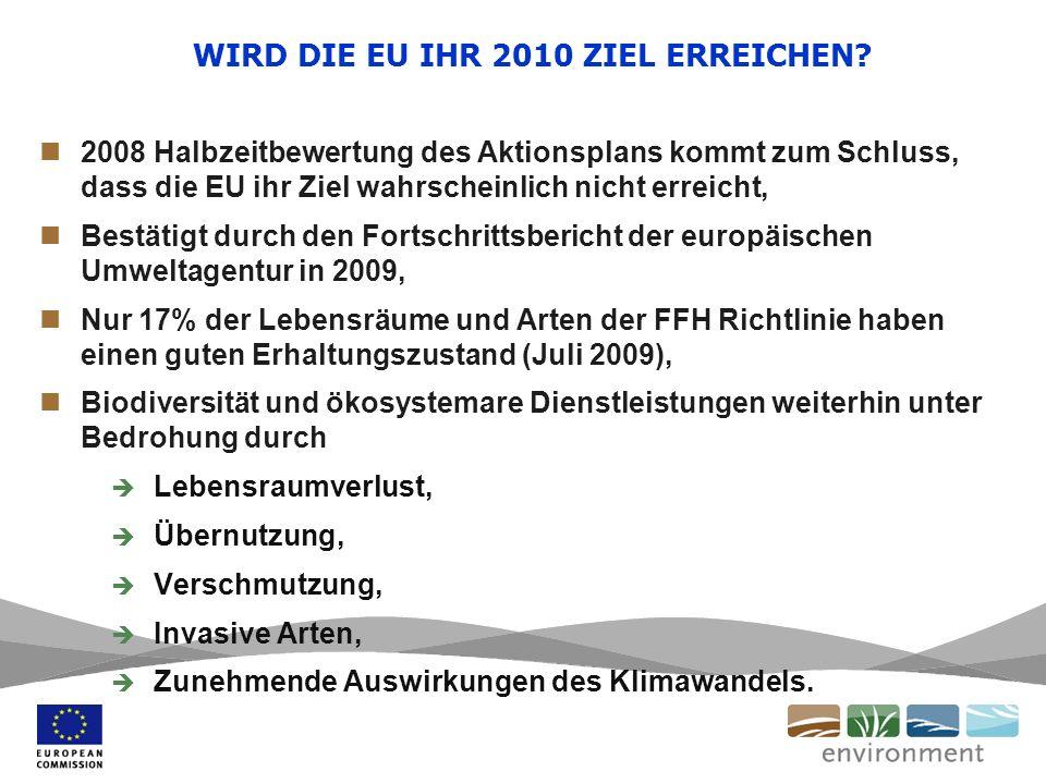 WIRD DIE EU IHR 2010 ZIEL ERREICHEN? 2008 Halbzeitbewertung des Aktionsplans kommt zum Schluss, dass die EU ihr Ziel wahrscheinlich nicht erreicht, Be