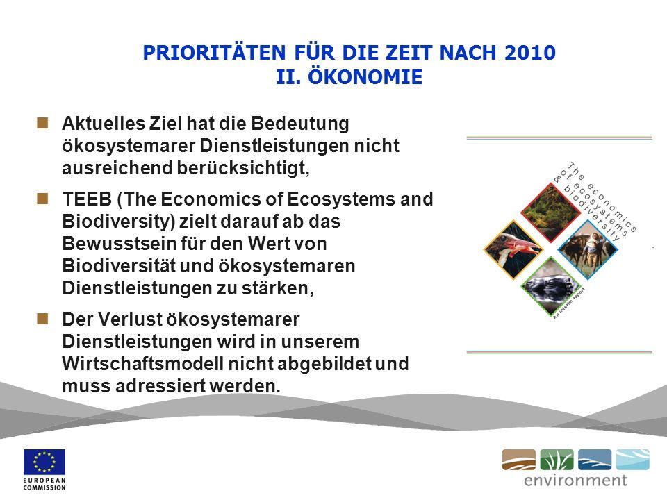 PRIORITÄTEN FÜR DIE ZEIT NACH 2010 II. ÖKONOMIE Aktuelles Ziel hat die Bedeutung ökosystemarer Dienstleistungen nicht ausreichend berücksichtigt, TEEB