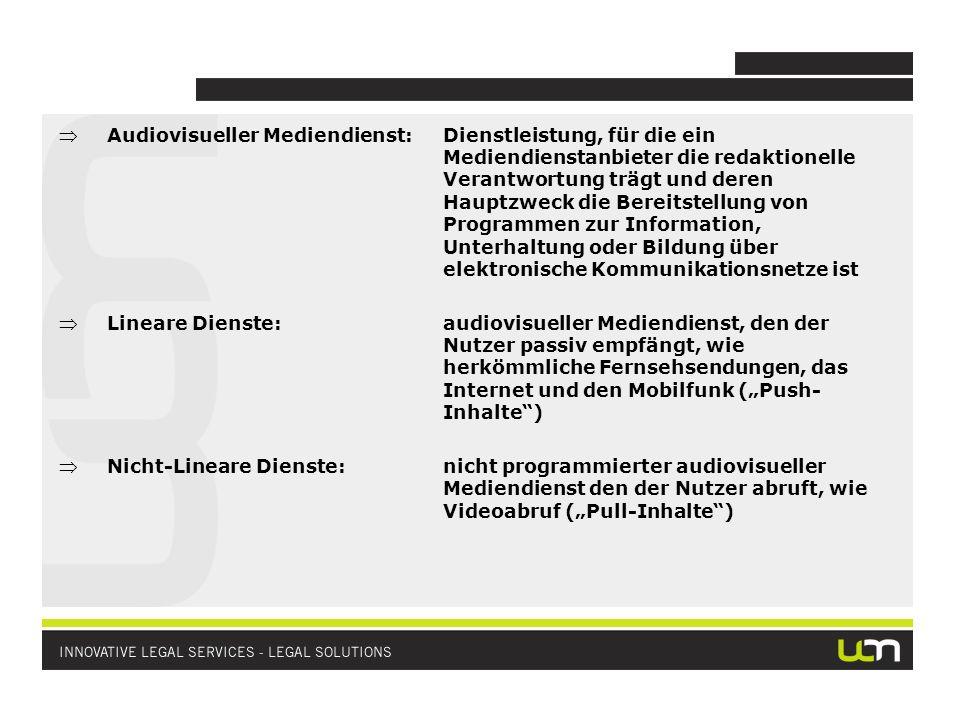 Audiovisueller Mediendienst:Dienstleistung, für die ein Mediendienstanbieter die redaktionelle Verantwortung trägt und deren Hauptzweck die Bereitstel