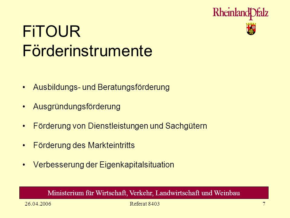 Ministerium für Wirtschaft, Verkehr, Landwirtschaft und Weinbau 26.04.2006Referat 84038 FiTOUR Ausbildungs- und Beratungsförderung Idee Planung Umsetzung Ausbildung + Berat.
