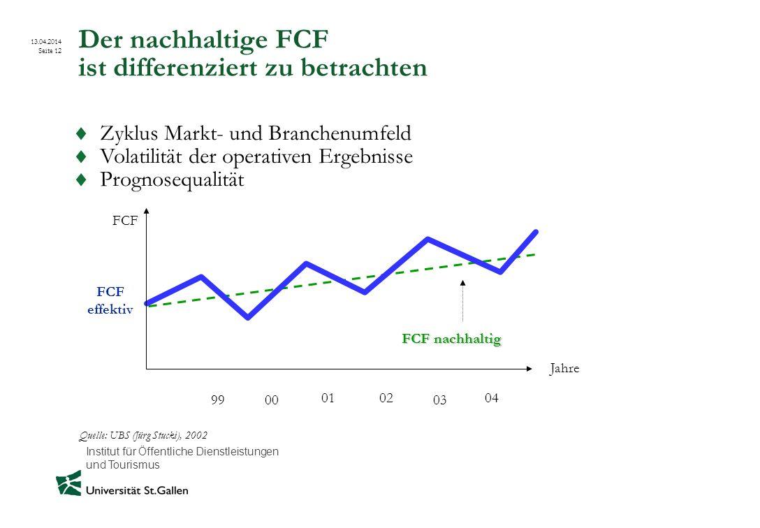 Institut für Öffentliche Dienstleistungen und Tourismus 13.04.2014 Seite 12 Der nachhaltige FCF ist differenziert zu betrachten FCF effektiv FCF nachh