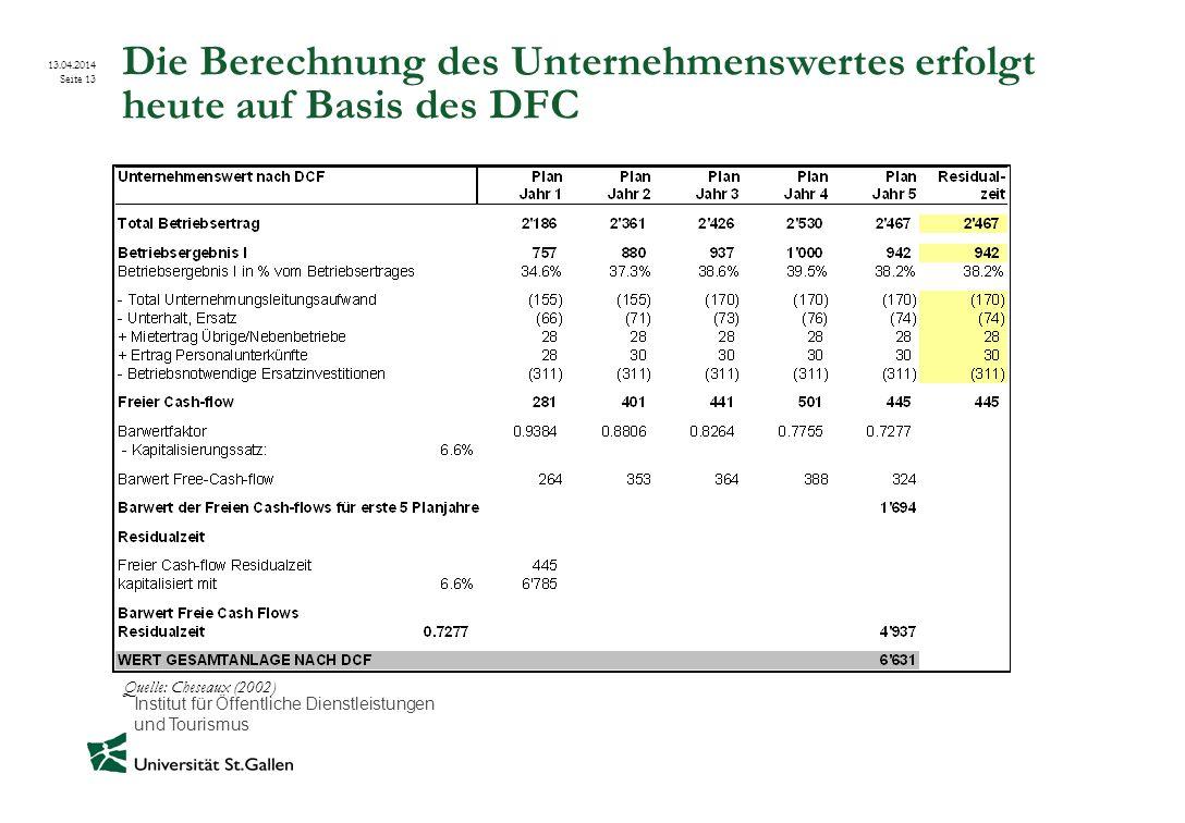 Institut für Öffentliche Dienstleistungen und Tourismus 13.04.2014 Seite 13 Die Berechnung des Unternehmenswertes erfolgt heute auf Basis des DFC Quel