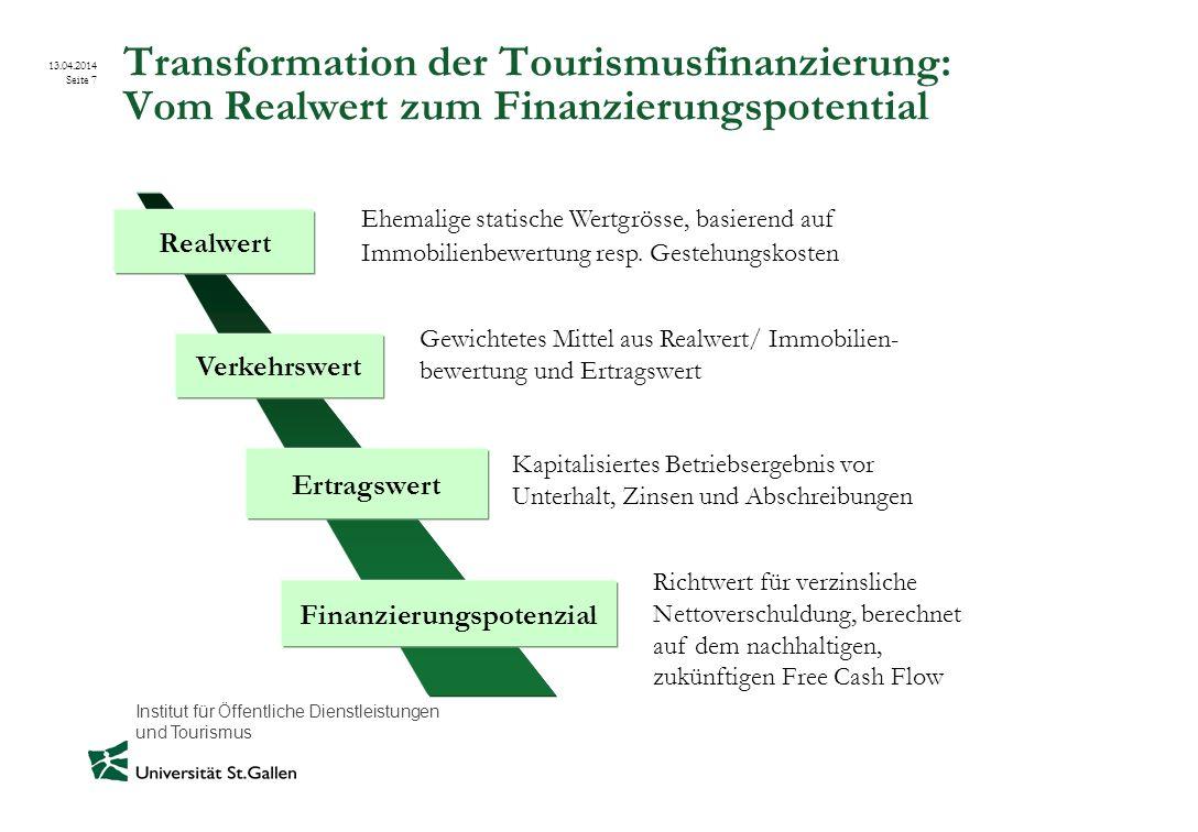 Institut für Öffentliche Dienstleistungen und Tourismus 13.04.2014 Seite 7 Transformation der Tourismusfinanzierung: Vom Realwert zum Finanzierungspot