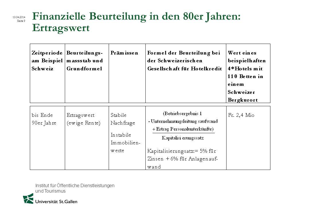 Institut für Öffentliche Dienstleistungen und Tourismus 13.04.2014 Seite 9 Finanzielle Beurteilung in den 80er Jahren: Ertragswert
