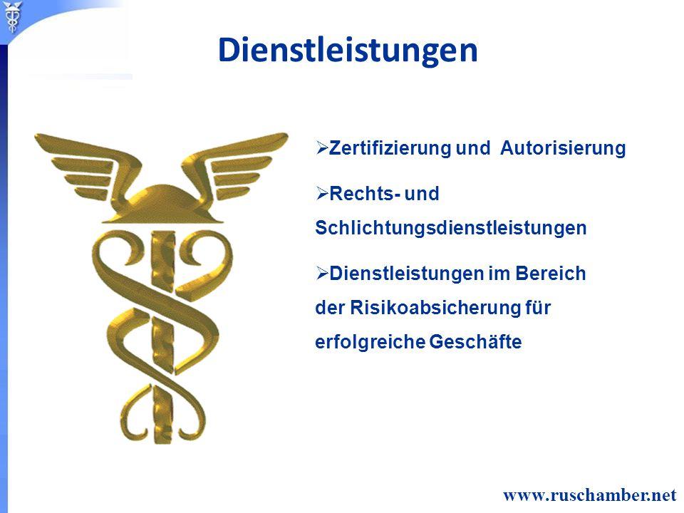 Zertifizierung und Autorisierung Rechts- und Schlichtungsdienstleistungen Dienstleistungen im Bereich der Risikoabsicherung für erfolgreiche Geschäfte www.ruschamber.net Dienstleistungen