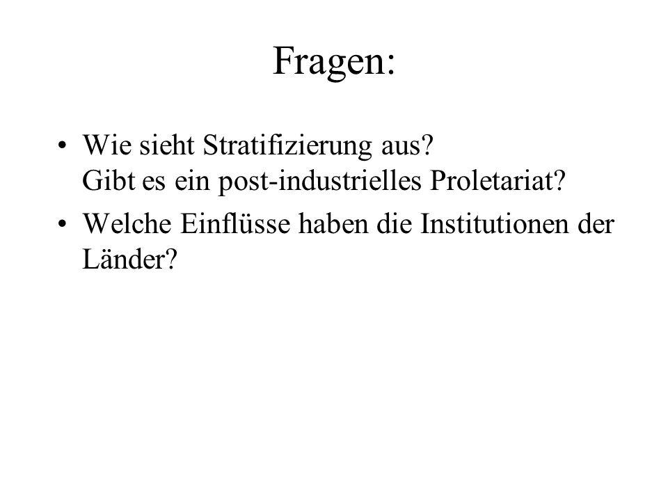 Fragen: Wie sieht Stratifizierung aus. Gibt es ein post-industrielles Proletariat.