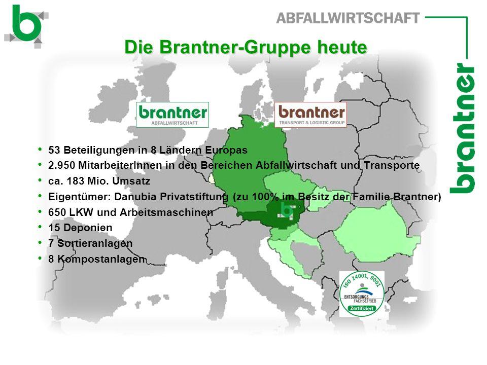 Die Brantner-Gruppe heute Die Brantner-Gruppe heute 53 53 Beteiligungen in 8 Ländern Europas 2.950 MitarbeiterInnen in den Bereichen Abfallwirtschaft und Transporte ca.