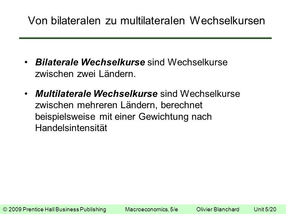 © 2009 Prentice Hall Business Publishing Macroeconomics, 5/e Olivier Blanchard Unit 5/20 Von bilateralen zu multilateralen Wechselkursen Bilaterale We