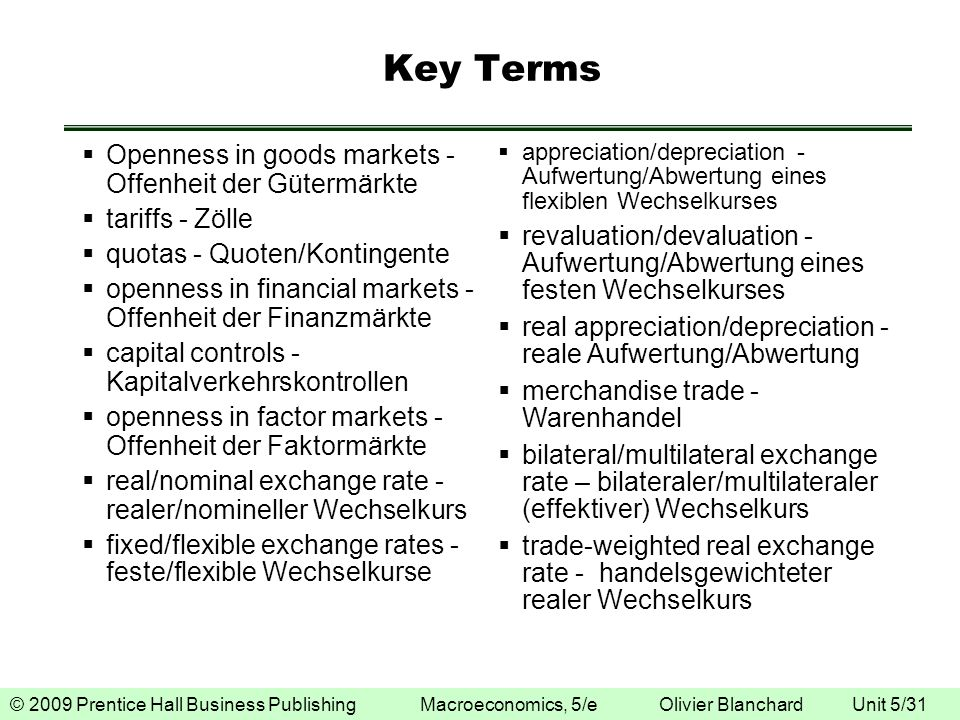 © 2009 Prentice Hall Business Publishing Macroeconomics, 5/e Olivier Blanchard Unit 5/31 Key Terms Openness in goods markets - Offenheit der Gütermärk