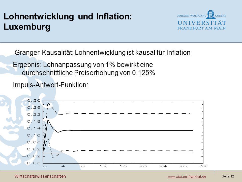Wirtschaftswissenschaften www.wiwi.uni-frankfurt.de www.wiwi.uni-frankfurt.de Seite 12 Lohnentwicklung und Inflation: Luxemburg Granger-Kausalität: Lo
