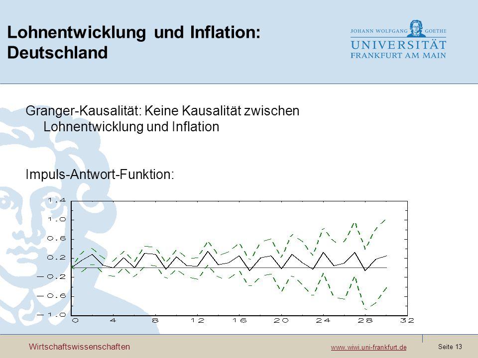 Wirtschaftswissenschaften www.wiwi.uni-frankfurt.de www.wiwi.uni-frankfurt.de Seite 13 Lohnentwicklung und Inflation: Deutschland Granger-Kausalität:
