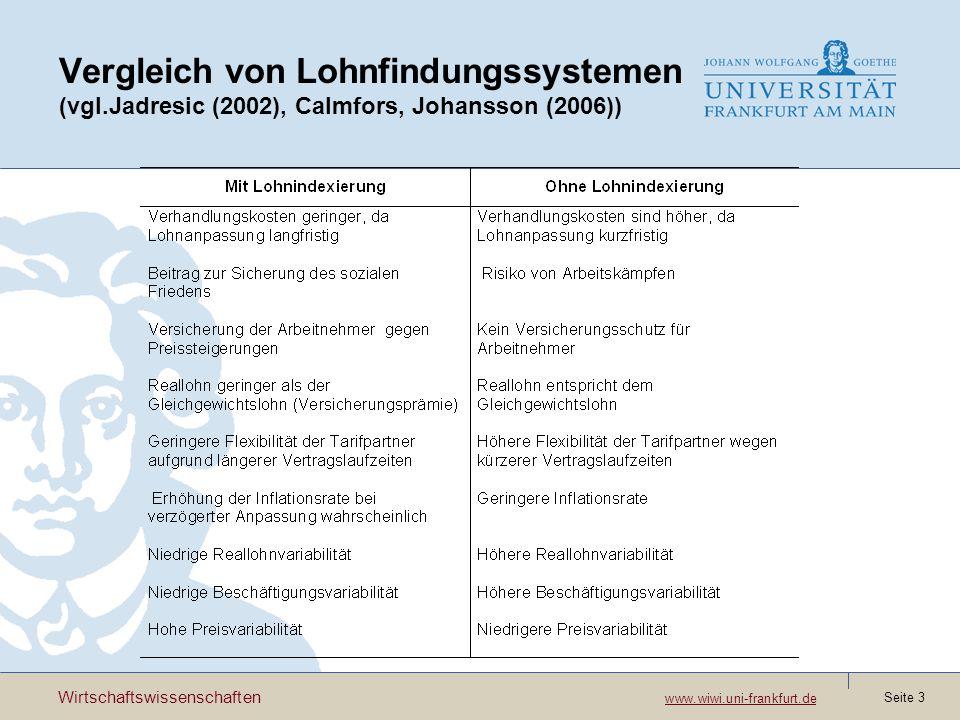 Wirtschaftswissenschaften www.wiwi.uni-frankfurt.de www.wiwi.uni-frankfurt.de Seite 3 Vergleich von Lohnfindungssystemen (vgl.Jadresic (2002), Calmfor