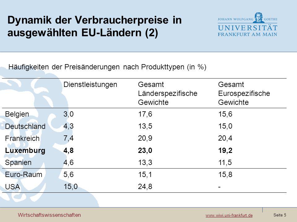 Wirtschaftswissenschaften www.wiwi.uni-frankfurt.de www.wiwi.uni-frankfurt.de Seite 6 Dynamik der Verbraucherpreise (vgl.Lünnemann,Mathä (2005)) PreisänderungenPreiserhöhungenPreisreduktionen Energie523220 Industriegüter16107 Verarbeitete Nahrungsmittel 1294 Nichtverarbeitete Nahrungsmittel 261512 Dienstleistungen761 Gesamt17116 Häufigkeiten der Preisvariationen in Luxemburg 1999 bis 2004 in %
