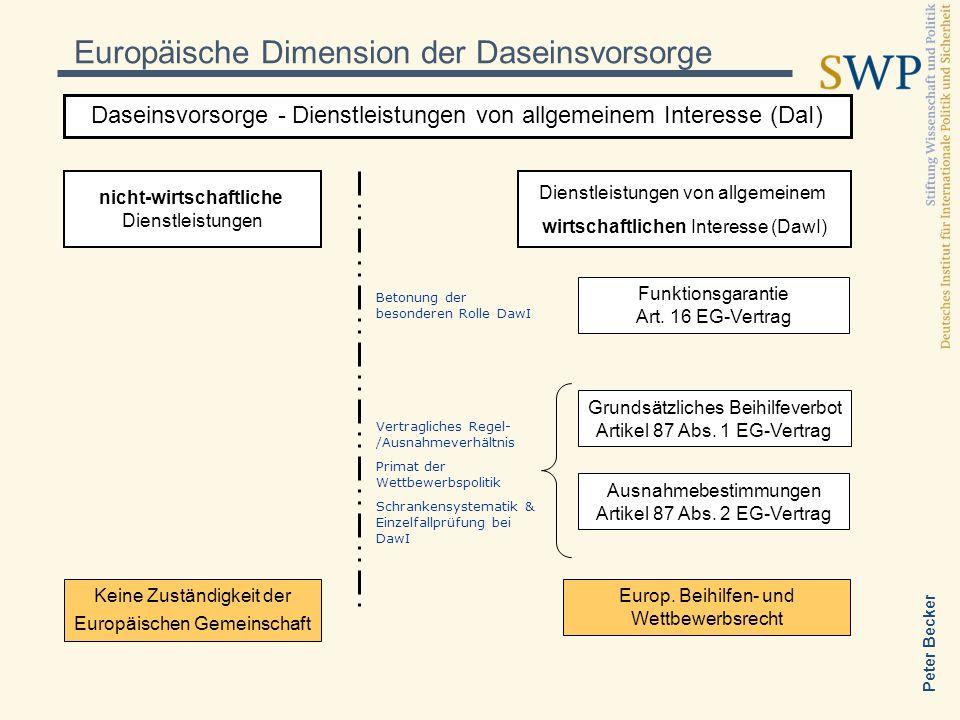 Peter Becker Europäische Dimension der Daseinsvorsorge Daseinsvorsorge - Dienstleistungen von allgemeinem Interesse (DaI) nicht-wirtschaftliche Dienst