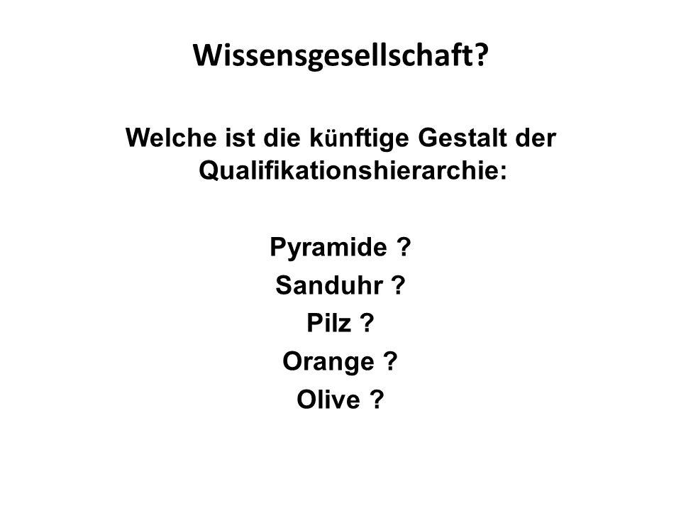 Wissensgesellschaft? Welche ist die k ü nftige Gestalt der Qualifikationshierarchie: Pyramide ? Sanduhr ? Pilz ? Orange ? Olive ?