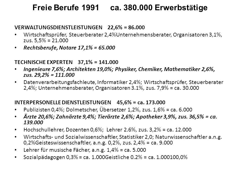 Freie Berufe 1991 ca. 380.000 Erwerbst ä tige VERWALTUNGSDIENSTLEISTUNGEN 22,6% = 86.000 Wirtschaftsprüfer, Steuerberater 2,4%Unternehmensberater, Org