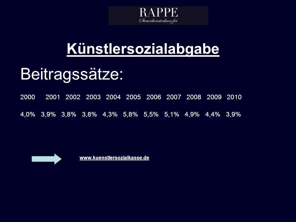 Künstlersozialabgabe Beitragssätze: 2000 2001 2002 2003 2004 2005 2006 2007 2008 2009 2010 4,0% 3,9% 3,8% 3,8% 4,3% 5,8% 5,5% 5,1% 4,9% 4,4% 3,9% www.kuenstlersozialkasse.de
