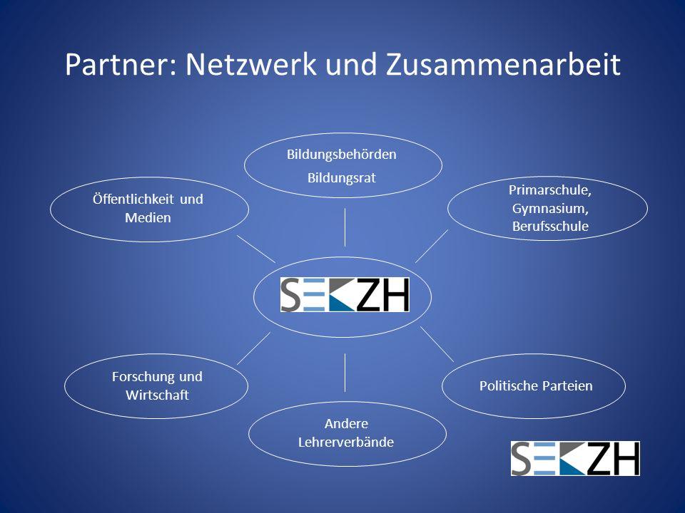 Partner: Netzwerk und Zusammenarbeit Öffentlichkeit und Medien Forschung und Wirtschaft Primarschule, Gymnasium, Berufsschule Politische Parteien Bild