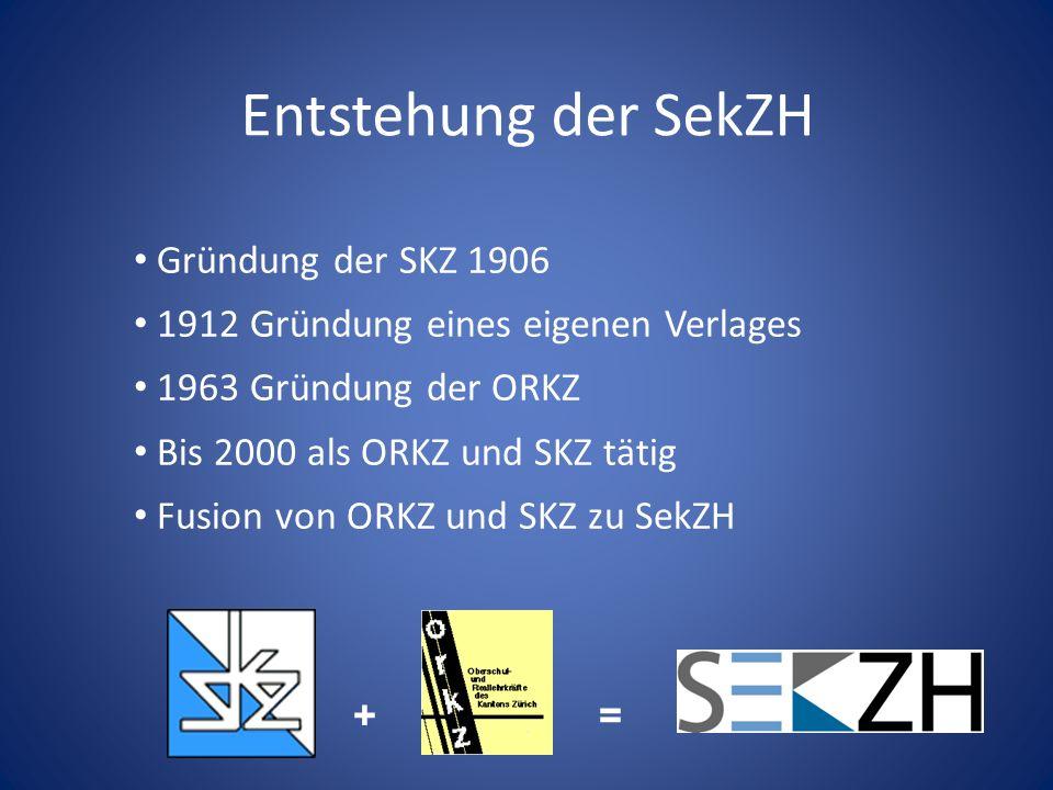 Entstehung der SekZH Gründung der SKZ 1906 1912 Gründung eines eigenen Verlages 1963 Gründung der ORKZ Bis 2000 als ORKZ und SKZ tätig Fusion von ORKZ