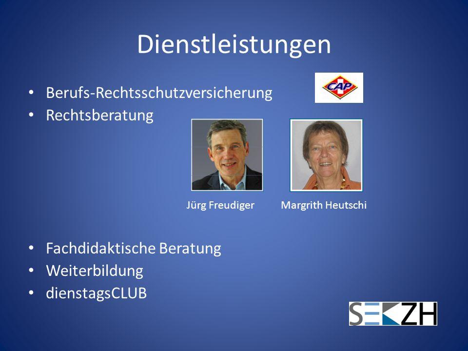 Dienstleistungen Berufs-Rechtsschutzversicherung Rechtsberatung Fachdidaktische Beratung Weiterbildung dienstagsCLUB Jürg FreudigerMargrith Heutschi