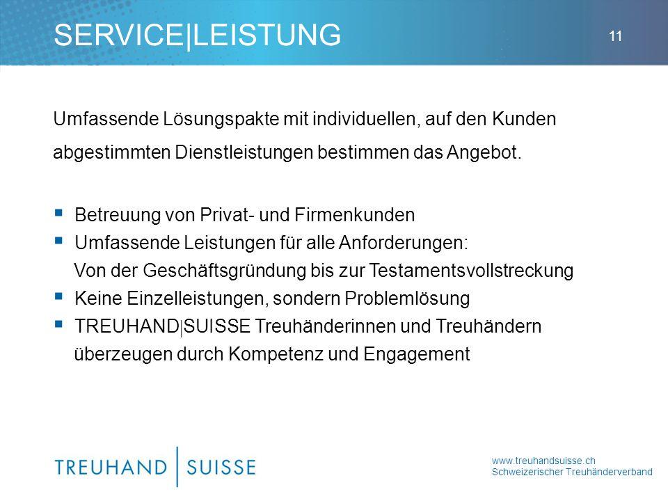 www.treuhandsuisse.ch Schweizerischer Treuhänderverband 11 Umfassende Lösungspakte mit individuellen, auf den Kunden abgestimmten Dienstleistungen bestimmen das Angebot.