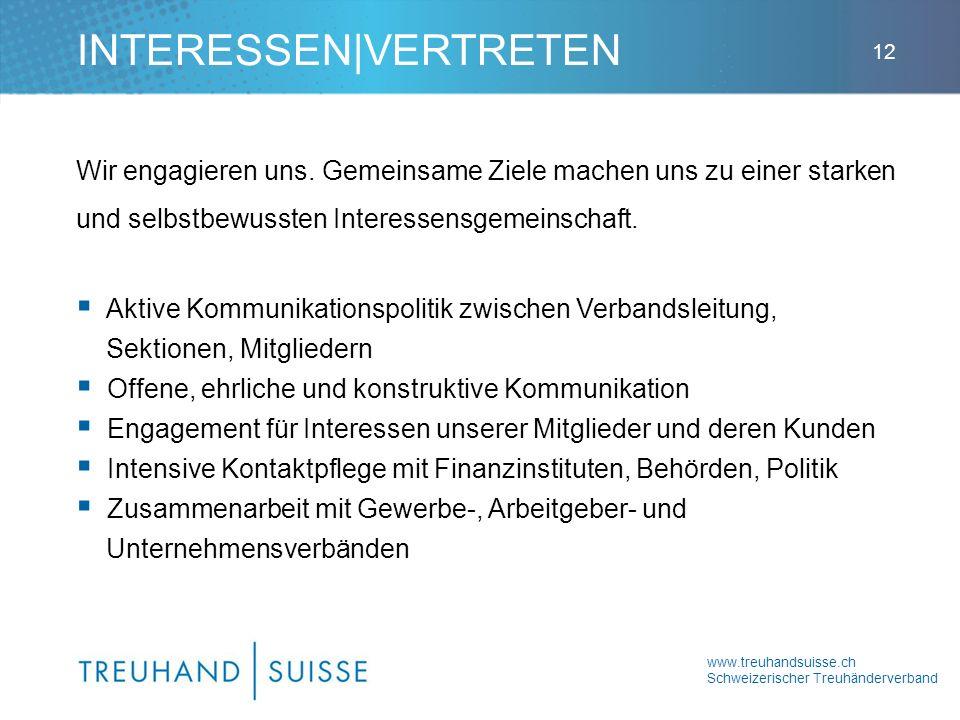 www.treuhandsuisse.ch Schweizerischer Treuhänderverband 12 Wir engagieren uns. Gemeinsame Ziele machen uns zu einer starken und selbstbewussten Intere
