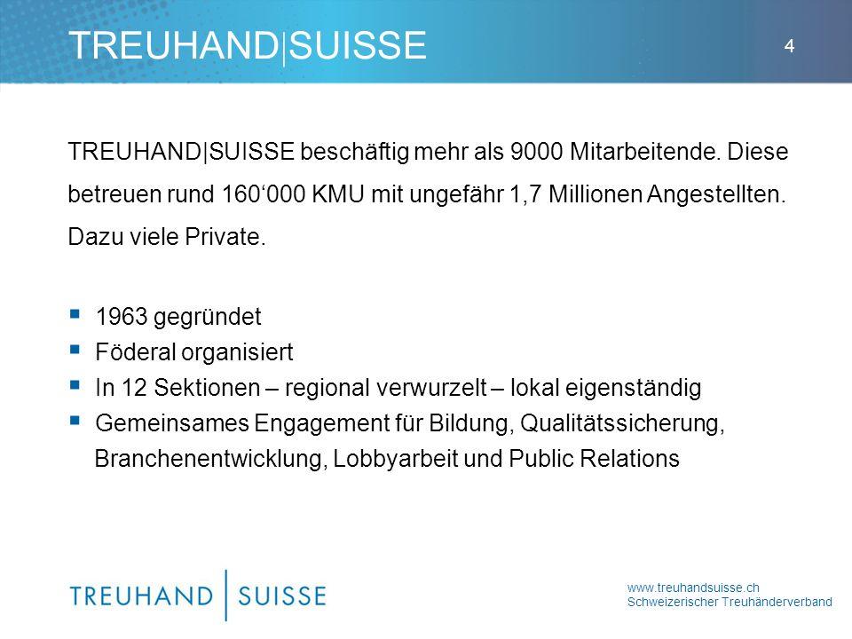 www.treuhandsuisse.ch Schweizerischer Treuhänderverband 4 TREUHAND|SUISSE beschäftig mehr als 9000 Mitarbeitende. Diese betreuen rund 160000 KMU mit u