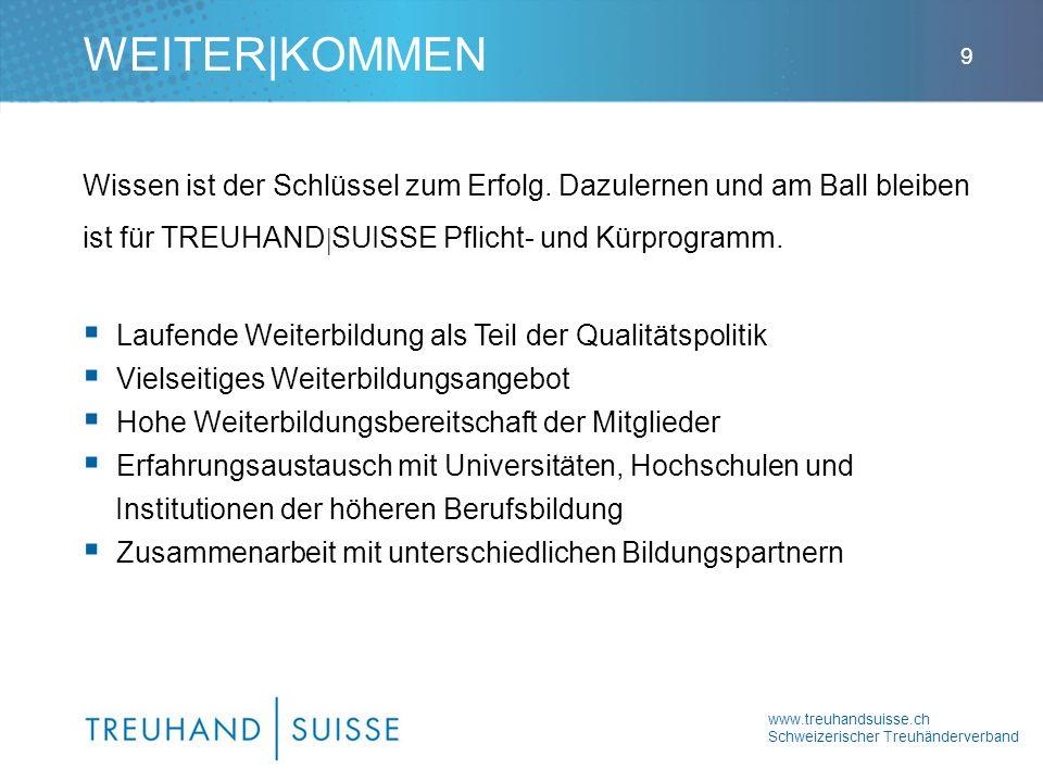 www.treuhandsuisse.ch Schweizerischer Treuhänderverband 9 Wissen ist der Schlüssel zum Erfolg. Dazulernen und am Ball bleiben ist für TREUHAND SUISSE