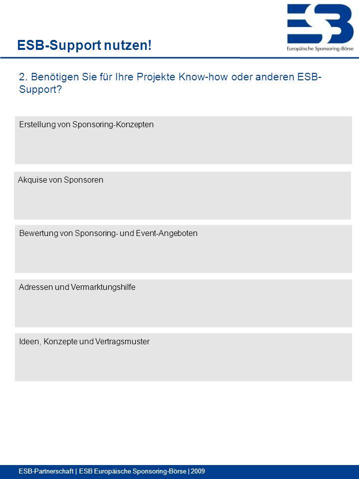 ESB-Partnerschaft | ESB Europäische Sponsoring-Börse | 2009 ESB-Support nutzen.