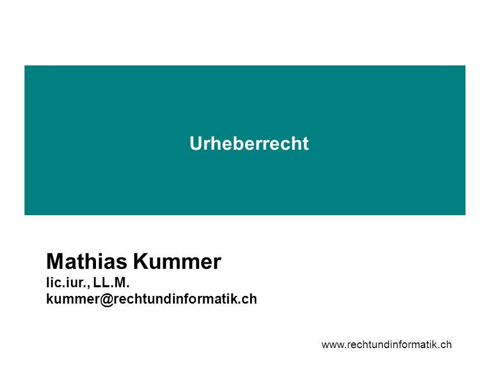 12 www.rechtundinformatik.ch URG 3 + 4 Werkbegriff Sammelwerke Sammlungen sind selbständig geschützt, sofern es sich bezüglich Auswahl oder Anordnung um geistige Schöpfungen mit individuellem Charakter handelt.
