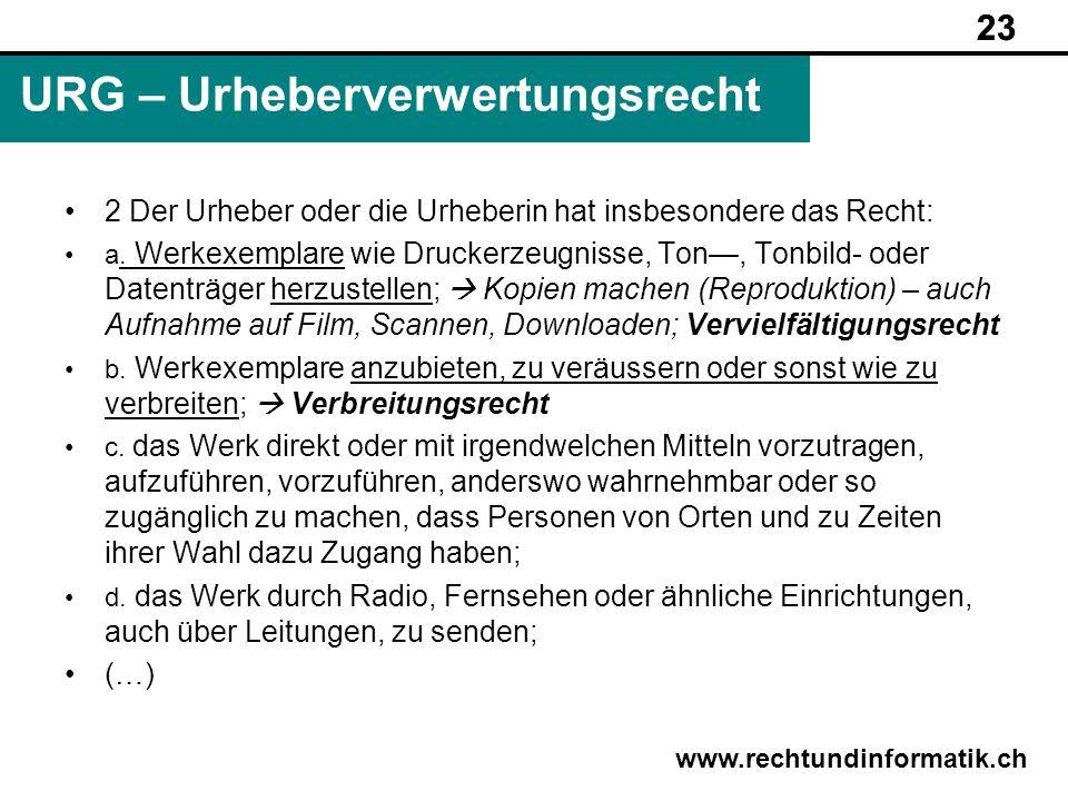 23 www.rechtundinformatik.ch URG – Urheberverwertungsrecht 23 2 Der Urheber oder die Urheberin hat insbesondere das Recht: a. Werkexemplare wie Drucke
